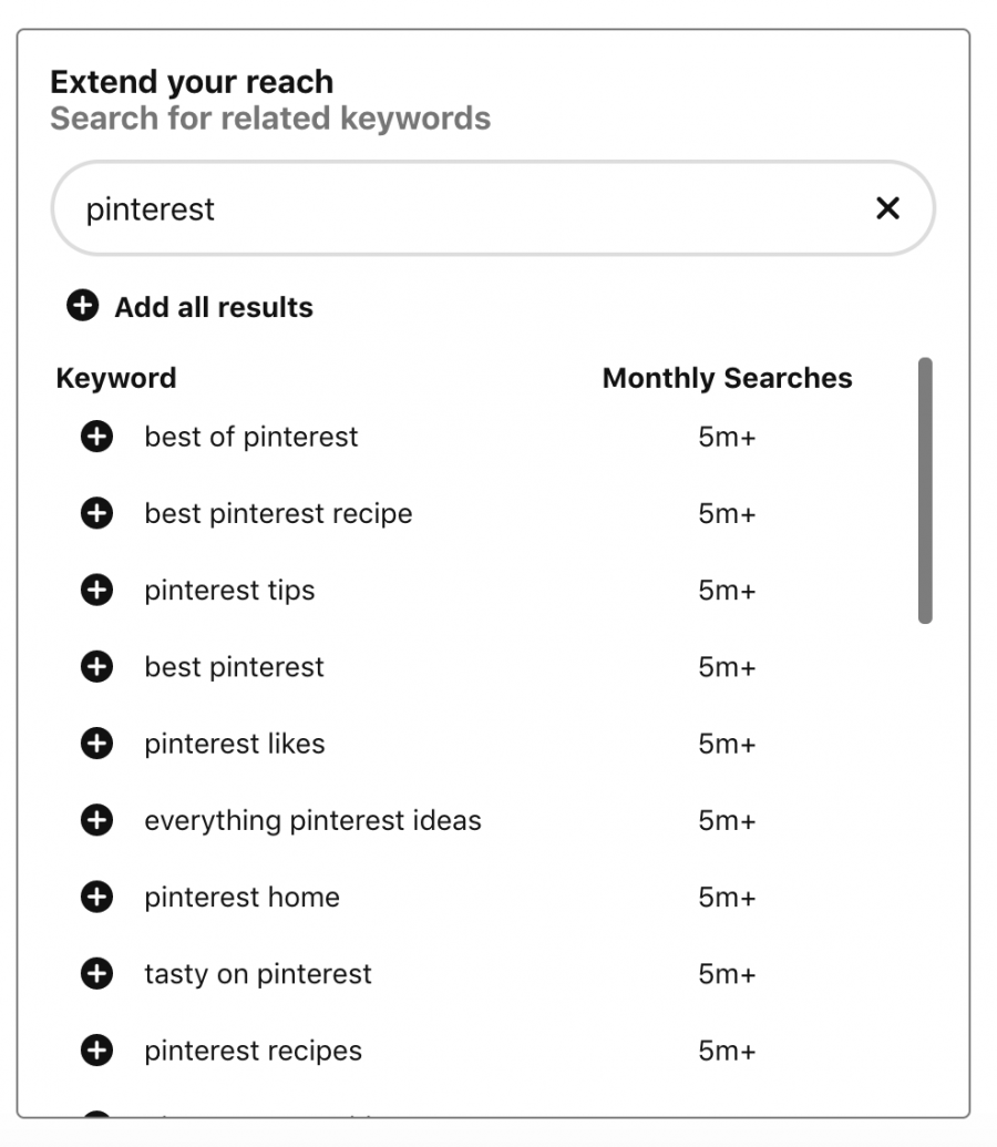 Pinterest board name research with keyword tool