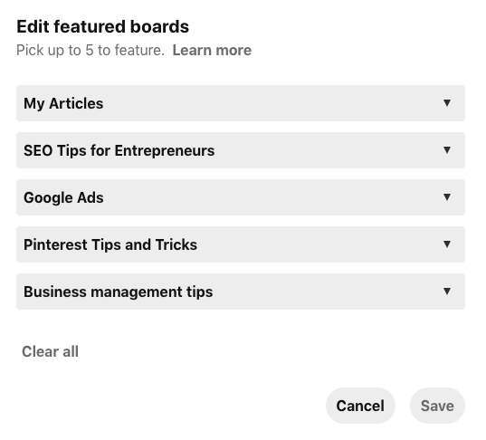 Featured Boards List on Pinterest