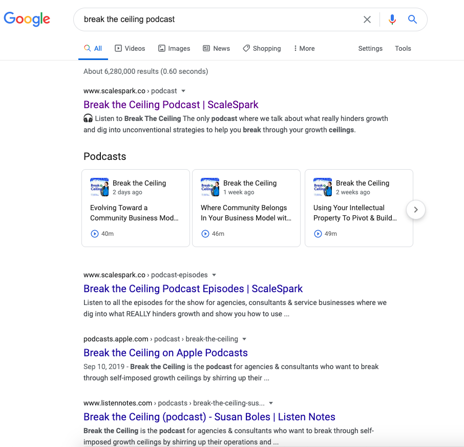 Podcast SEO Results in Google Search